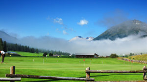 Golf at high mountains to Zuoz near St. Moritz in the Engadine - Switzerald